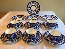 More details for antique coalport blue & white 'belmont' 6 trios + 4 large tea plates  exc. cond.