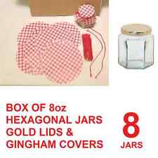 8 X BOX HEXAGONAL 8oz JAM CHUTNEY PRESERVE STORAGE GLASS JARS , GINGHAM COVERS