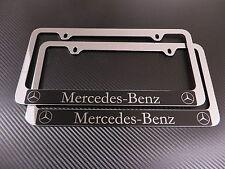 (2) Mercedes-Benz HALO (GLK/GL/G) chrome METAL license plate frame - Front &Rear