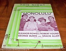 """This Night"" Sheet Music From Movie 'Honolulu'-Cove r George Burns - Robert Young"