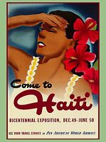 Come To Haiti Caribbean Island Sea Girl Vintage Travel Advertisement Art Poster