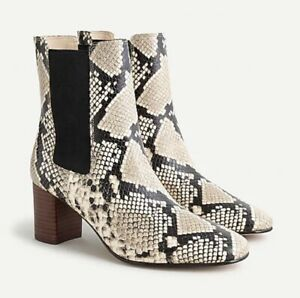 NWT J. Crew Willa Snake-Embossed Leather Stacked-Heel - Natural - Size 10.5