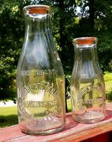 Rare Set, 1919 Undulata Farms, PB Weissinger Shelbyville KY Milk Bottles W/ Caps