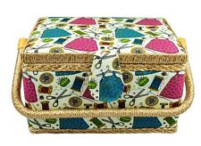 MEDIUM SIZE SEWING BASKET W/ HANDY INSERT AND SEWING NOTIONS