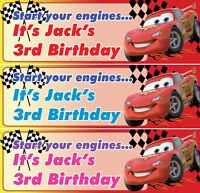 2 x personalised cars birthday banner nursery children kids party decoration