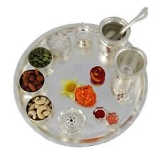 Occasional Sarovar Silver Plated Pooja Thali Set Diwali Decorative Wedding Gift