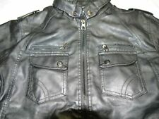 "Men's 46"" Chest - Faux Leather Faux Fur Jacket Black - NWOT"