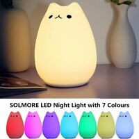 USB Rechargeable LED Night Light Lamp Cute Silicone Cat 7 Color Change Kids Room