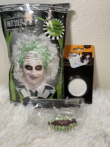 Beetlejuice Wig White Green/Bonus Horror Green Teeth/White Face Makeup Halloween