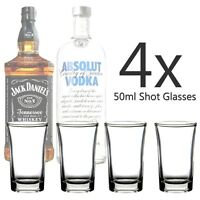SET OF 4 X GLASS SHOT GLASSES 50ML TEQUILA VODKA WHISKY PARTY SHOOTER