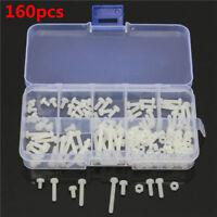 160Pcs M3 White Nylon Screws AND Nuts Assortment Kit 8 Sizes