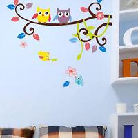 Cute Owl Bird Tree Removable Vinyl Decal Wall Sticker Art Kid Room Wall Decor