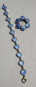 DAVID ANDERSEN DENMARK STERLING SILVER BLUE ENAMEL HEART BRACELET - PIN/ BROOCH