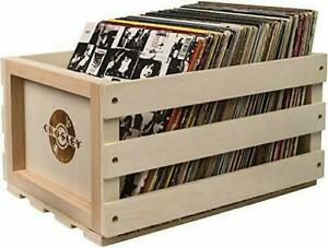 Record Storage Crate (Natural) GIFT IDEA STORAGE LP VINYL WOOD UP TO 70+ ALBUMS