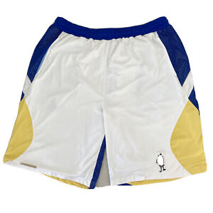 AND1 Basketball Shorts White Blue Yellow Mens Large VGC 63cm Length Free Postage