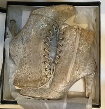 Winter White Damask Victorian Style Ladies Boots