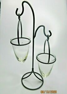 Wrought Iron & Glass Dual Hanging Cones Candle Succulent Air Plant Holders