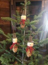 New listing Three Primitive Pinecone Snowman Ornaments