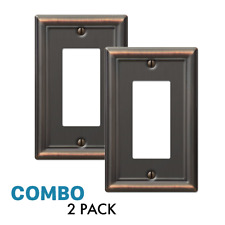 2-Pack Rocker Gfci Outlet Toggle Switch Wall Plate, Oil Rubbed Bronze