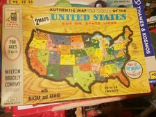 Milton Bradley authentic map on wood of the United States 1961