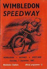 Speedway Programme>WIMBLEDON DONS v HACKNEY HAWKS & WEST HAM HAMMERS Sept 1967