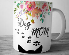 DOG Mom Mug Pet Lover Gift Floral Watercolor Coffee Cup 11 oz