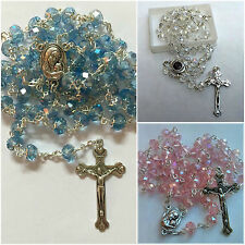 Set of 3 Rosaries Clear Blue Pink Glass Crystal Beads Necklace With Holy Soil