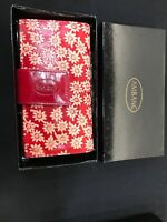 LADIES LEATHER WALLET AMBANC BRAND 36 CARDS EXECUTIVE (RED FLOWER ) LW 20