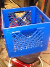 Retired Blue Plastic Dairy Milk Crate Storage Containers crates stackable bins