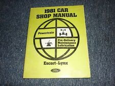 1981 Ford Escort Mercury Lynx Service Manual Powertrain