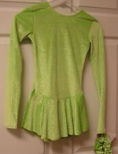 Mondor Model 2711 Velvet Glitter Skating Dress - Lime Glitter Size YJ