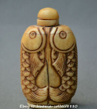 Collect China old bone carve two fish statue smoking set snuff box snuff bottle