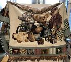 """Tapestry Throw Bears Designs Does Have A Few Snags Approx 48""""X 30"""" Preowned Used"""