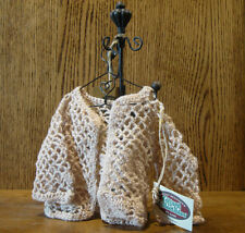 "Ganz Accessory #Cc865Xl Beige Crochet Cardigan (only), fits 12"" chest"
