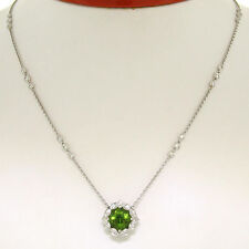 "18K White Gold 16"" 3.12ctw F VS Diamond Cushion Peridot Flower Cluster Necklace"