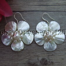 S061610 White  Mother Of Pearl Shell  Silver Earrings