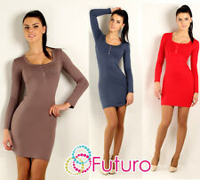 Bodycon Women's Dress with Buttons Cowl Neck Long Sleeve Tunic Size 8-12 2918