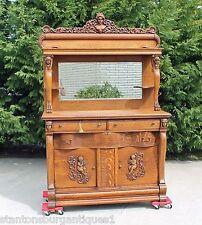 Incredible Victorian Tiger Oak Buffet Sideboard Putti's Ansonia Heads Paw Feet