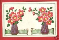 TWO PURPLE VASES OF PINK FLOWERS  GREETINGS  POSTCARD