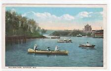 Boating Canoe Billings Park Superior WI 1920c postcard