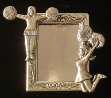 Cheerleader Photo Pin Brooch Silver Overlay