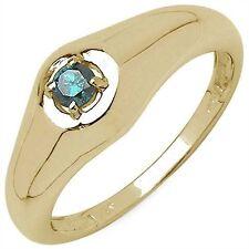 Bague Fiancailles Chevalière Diamant bleu Argent massif 925 Plaqué or