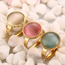 Amazing Round Opal Size 6,7,8 Gold Stainless Steel Women's Fashion Party Rings