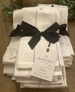 Hearth & Hand Magnolia Gray Sour Cream Stripe Cotton Napkins Lot Of 3 Sets- 12