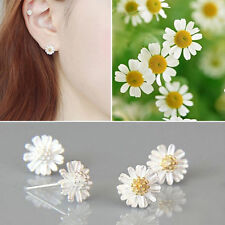 2 Pairs Silver Plated Chrysanthemum Daisy Shape Ear Stud Earrings