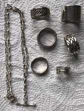 STERLING SILVER RINGS & A T-BAR NECKLACE RESELL ON OR SCRAP 41GRAMS