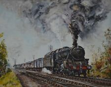 Locomotive Train 5075 Oil on Board Signed and Dated Smith 85