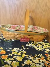 2001 Longaberger Peony Basket, Peony Fabric Liner, Protector, Tie-On