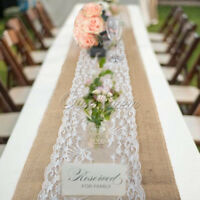 1/10×Burlap Hessian Table Runner Lace  Floral Runner Cover Wedding Home Decor