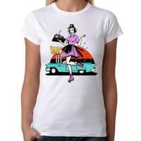 50s Rockabilly Pin Up Diner - Womens White T-Shirt - Geek Retro Fun Kitsch Cute